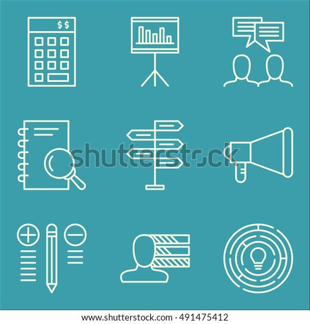 Set Of Project Management Icons On Best Solution, Research, Promotion And More. Premium Quality EPS10 Vector Illustration For Mobile, App, UI Design.