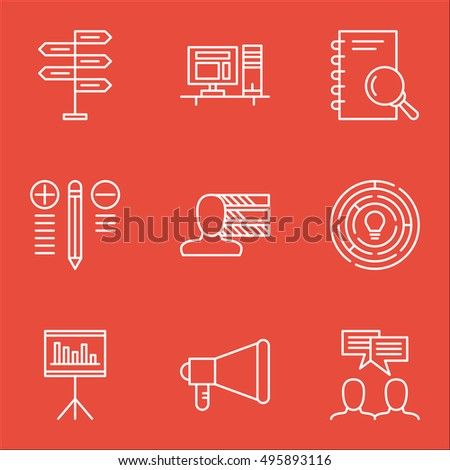 Set Of Project Management Icons On Computer, Presentation, Opportunity And More. Includes Analysis, Presentation, Opportunity And Other Vector Icons.