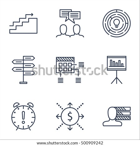 Set Of Project Management Icons On Discussion, Money And Personal Skills Topics. Editable Vector Illustration. Includes Chart, Growth And Flow Vector Icons.