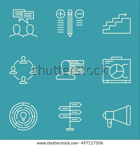 Set Of Project Management Icons On Growth, Innovation, Decision Making And More. Includes Innovation, Collaboration, Decision Making And Other Vector Icons.