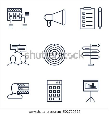 Set Of Project Management Icons On Investment, Announcement And Reminder Topics. Editable Vector Illustration. Includes Reminder, Skills And Statistics Vector Icons.