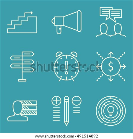 Set Of Project Management Icons On Team Meeting, Promotion, Personality And More. Premium Quality EPS10 Vector Illustration For Mobile, App, UI Design.