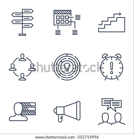 Set Of Project Management Icons On Time Management, Announcement And Innovation Topics. Editable Vector Illustration. Includes Date, Personal And Goal Vector Icons.