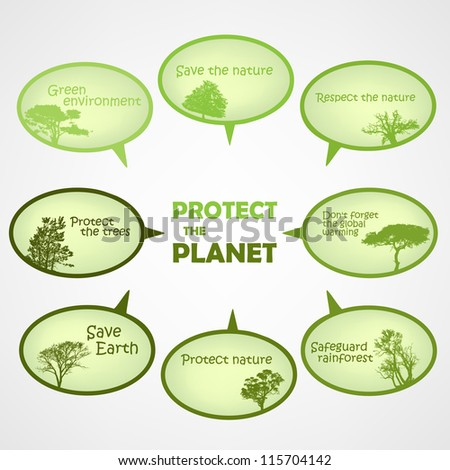 Set of protect the planet green text bubbles - stock vector