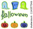 Set of pumpkins, ghosts and gravestones isolated on white background - stock photo