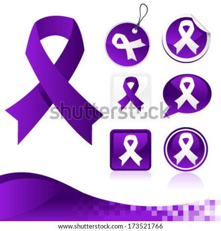 Set of purple awareness ribbons for various causes - stock vector