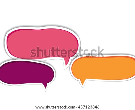 Set of purple speech bubbles with shadow, vector