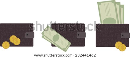Set of purse with banknotes and coins - stock vector