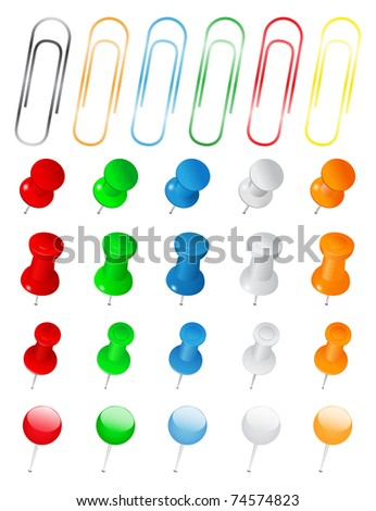 Set of Push Pins and Paper Clips on white background - stock vector
