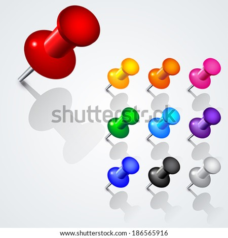 Set of 10 push pins in different colors.  - stock vector