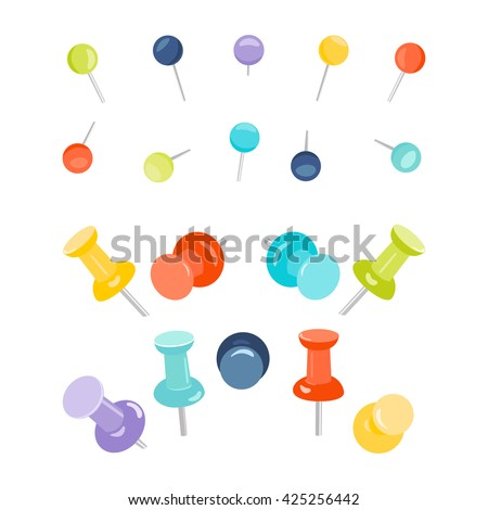 Set of push pins in different colors on white background. Office thumbtacks stationery products. Needles and tacks. Vector illustration.