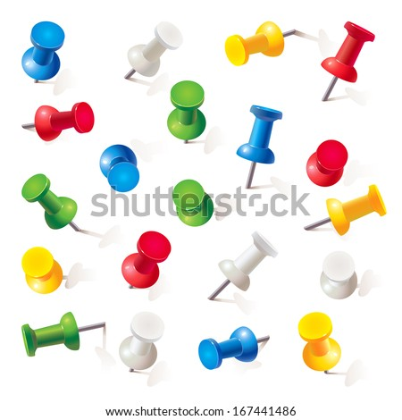 Set of push pins in different colors. Thumbtacks. Top view. Vector illustration. Isolated on white background. Set - stock vector