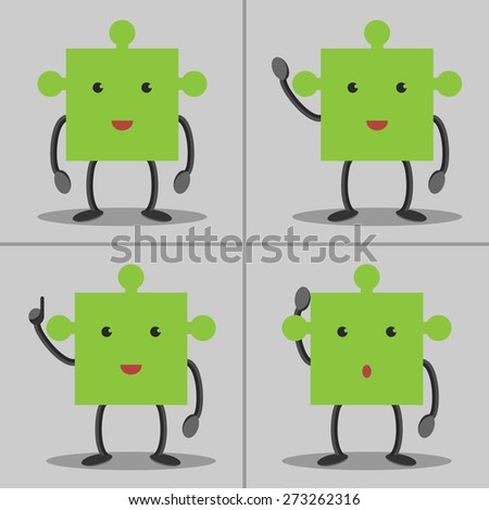 Set of puzzle piece characters: standing, waving hand, in aha moment and thinking. Solution, idea concept. EPS 10 vector, no transparency - stock vector