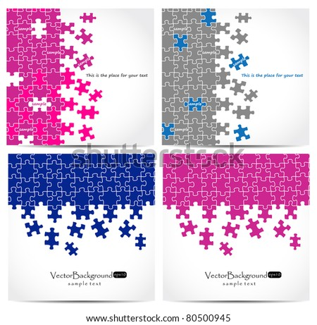 Set of puzzle vector design - stock vector