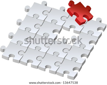 Set of puzzles for game, combined picture with red puzzle, illustration - stock vector