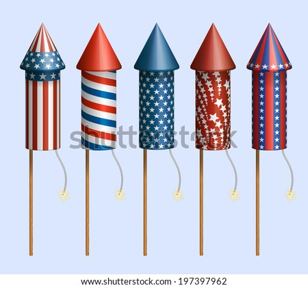 Set of pyrotechnic rockets, with design for fourth of July, and other holidays, EPS 10 contains transparency. - stock vector