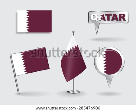 Set of Qatari pin, icon and map pointer flags. Vector illustration. - stock vector