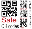 Set of qr code for smart phone. Sale, Free - stock photo