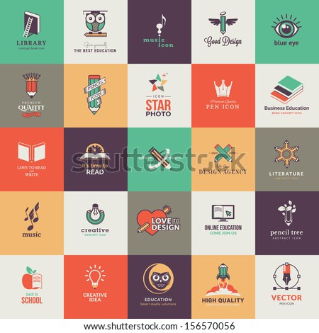 Set of quality designed art and education icons  - stock vector