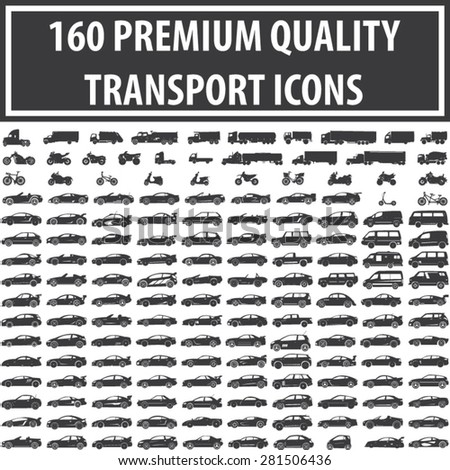 Set of 160 Quality Icons [ Car, Bike, Motorcycle, ATV, Truck, Van, Scooter, Transport ] - stock vector