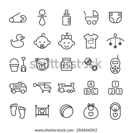 Set of Quality Isolated Universal Standard Minimal Simple Baby Black Thin Line Icons on White Background. - stock vector