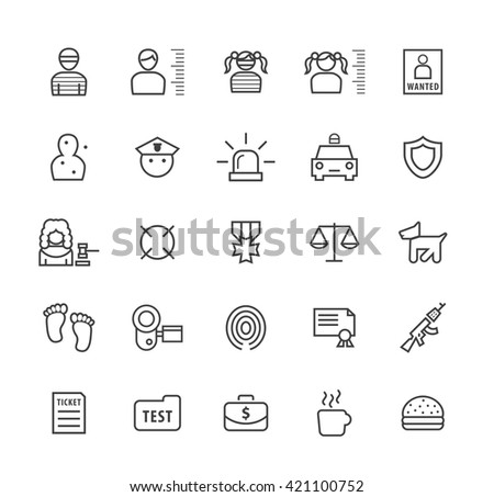Set of Quality Isolated Universal Standard Minimal Simple Black Thin Line Police Concepts Icons on White Background.