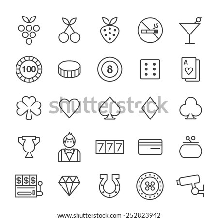 Set of Quality Isolated Universal Standard Minimal Simple Casino Black Thin Line Icons on White Background. - stock vector