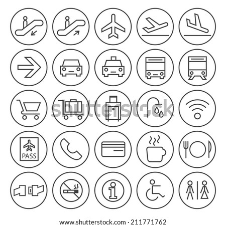 Set of Quality Universal Standard Minimal Simple Airport Black Thin Line Icons on Circular Buttons on White Background. - stock vector
