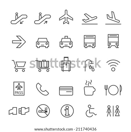 Set of Quality Universal Standard Minimal Simple Airport Black Thin Line Icons on White Background. - stock vector