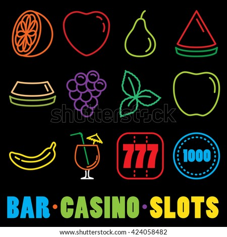 Set of Quality Universal Standard Minimal Simple Colored Neon Casino Thin Line Icons on Black Background
