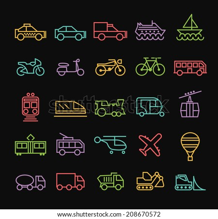 Set of Quality Universal Standard Minimal Simple Colored Neon Transport Thin Line Icons on Black Background. - stock vector