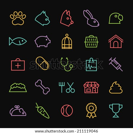 Set of Quality Universal Standard Minimal Simple Colored Neon Veterinary Thin Line Icons on Black Background. - stock vector