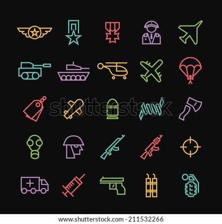 Set of Quality Universal Standard Minimal Simple Colored Neon War Thin Line Icons on Black Background. - stock vector