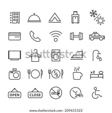 Set of Quality Universal Standard Minimal Simple Hotel Black Thin Line Icons on White Background. - stock vector
