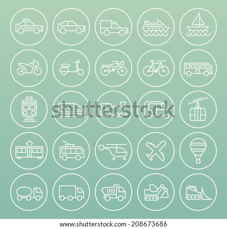 Set of Quality Universal Standard Minimal Simple Transport Black Thin Line Icons on Circular Buttons on White Background. - stock vector
