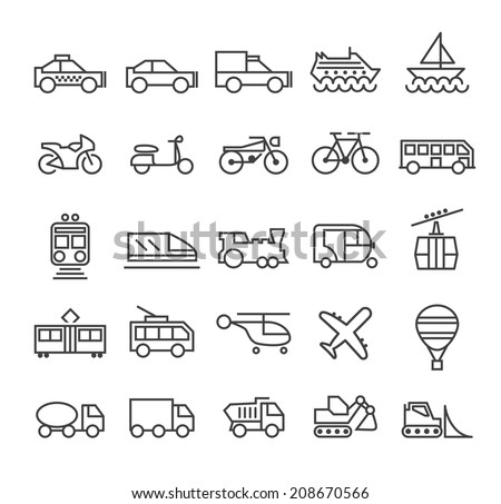 Set of Quality Universal Standard Minimal Simple Transport Black Thin Line Icons on White Background. - stock vector