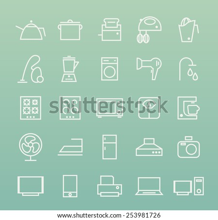 Set of Quality Universal Standard Minimal Simple White Home Appliances Thin Line Icons on Color Background. - stock vector