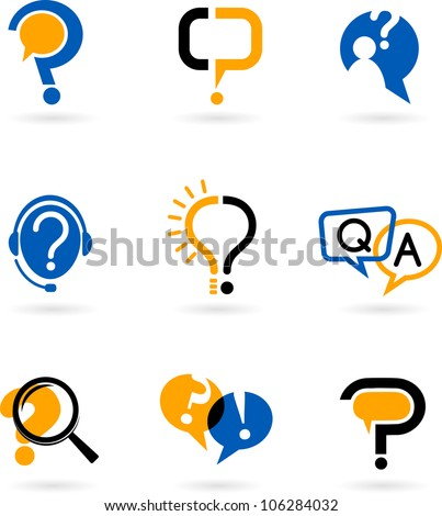 set of question and answer vector icons - stock vector