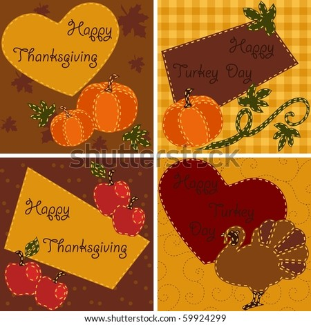 Set of quilted Thanksgiving cards (Eps10); jpg version also available - stock vector