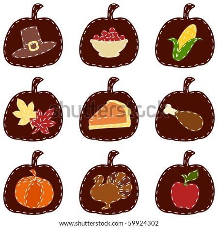 Set of quilted Thanksgiving icons (Eps10); jpg version also available - stock vector