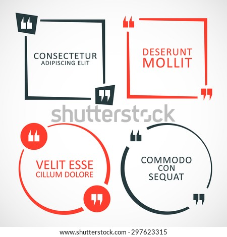 set quote box bubble quotes template stock vector 297623315