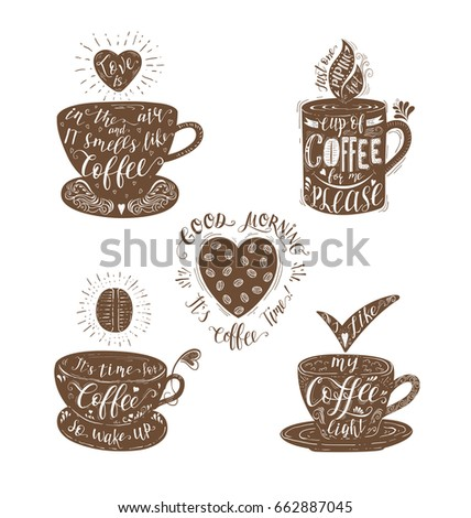 Set Quotes Coffee Vector Handdrawn Lettering Stock Vector HD