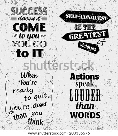 Set of Quotes Typographical Posters, Vector Design. Motivational Success Quotes for Inspirational Art - stock vector