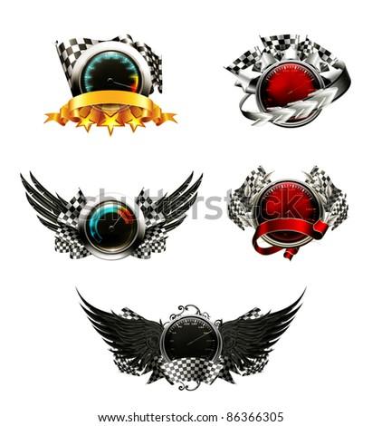 Set of racing emblems - stock vector