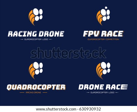 Set of racing quadrocopter logo