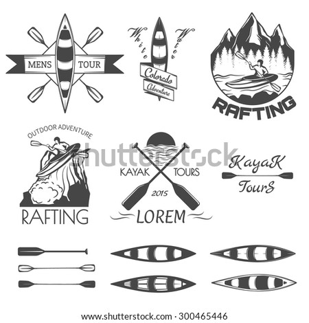 Set of rafting labels,badges and design elements. - stock vector