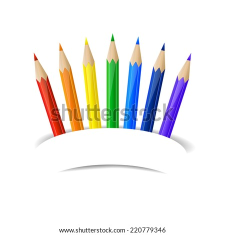 Set of rainbow pencils and paper banner - stock vector