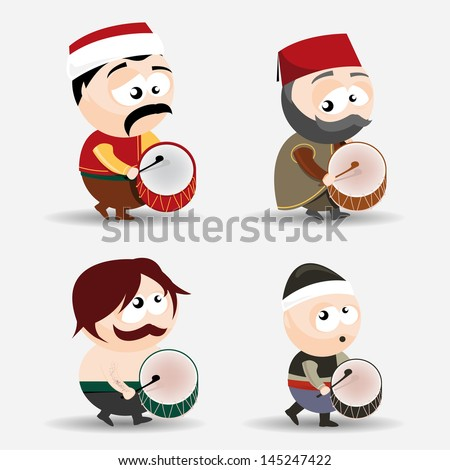set of ramadan drummers - stock vector