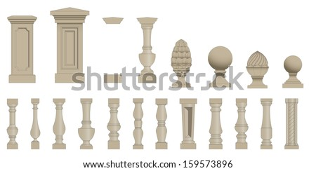 Set  of random style balusters with stands - stock vector