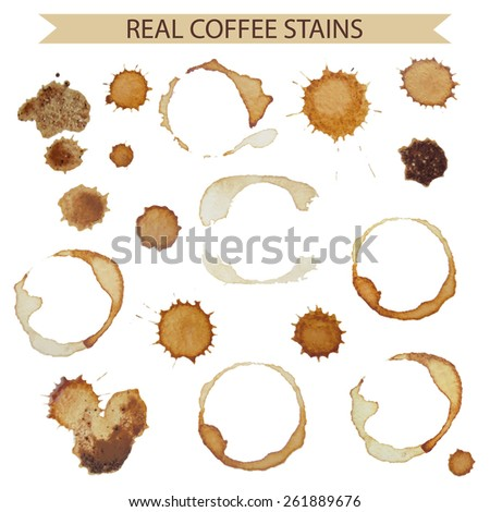 Set of real coffee stains and spots for design - stock vector